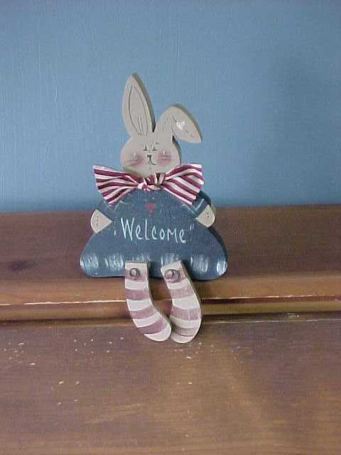 Americana Bunny Shelf Sitter, Handcrafted Wood