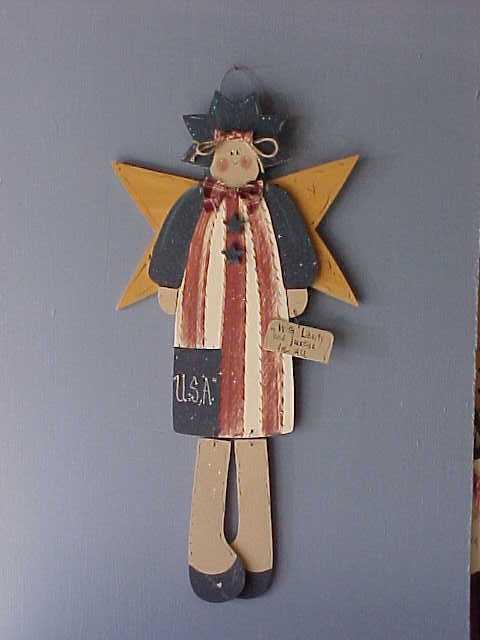 Americana Angel, Handcrafted Wood