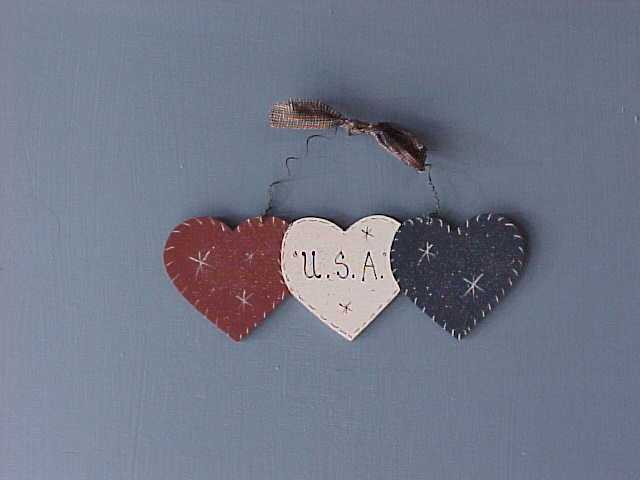 Americana Hearts, Handcrafted Wood