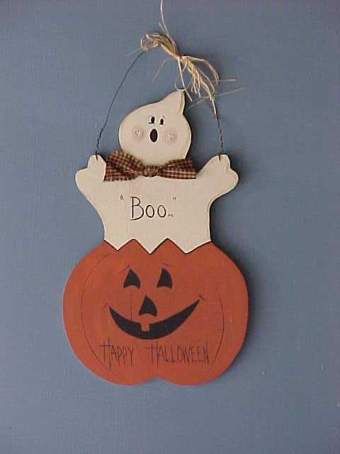 Handcrafted Wood Halloween Ghost With Pumpkin