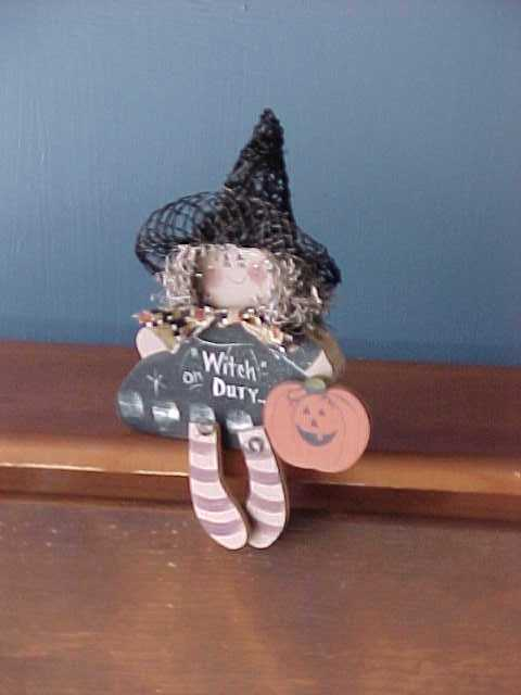 Handcrafted Wood Halloween Witch